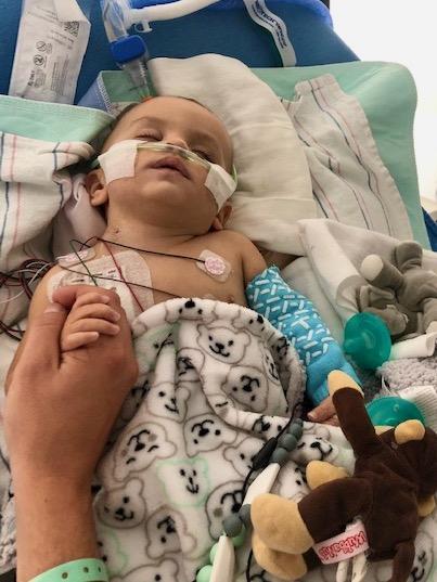 Baby Dakota with breathing tube
