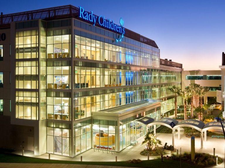 Rady Children's Hospital at dusk